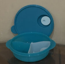 TUPPERWARE NEW TURQUOISE MICROWAVE LUNCH BOWL DIVIDED DISH VENTED/COLD CUP-4 CUP