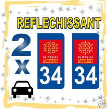 2 stickers REFLECHISSANT département 34 rétro-réfléchissant immatriculation AUTO