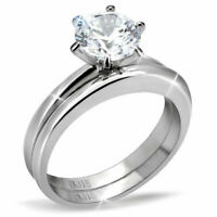 Silver Stainless Steel Round CZ Women's Wedding Engagement Ring Sets Size 5-10