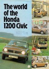 Honda Civic 1200 1973-74 UK Market Foldout Sales Brochure 2-dr 3-dr De Luxe