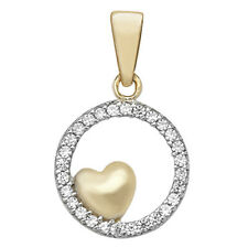 Real 9ct Gold Round Heart Cubic Zirconia Pendant Women Mothers Day Birthday Gift