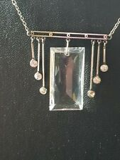 BEAUTIFUL ART DECO STERLING SILVER PASTE/CRYSTAL STONE NECKLACE