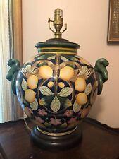 "MAJOLICA Italian Pottery Lamp ""ACQUA FA CEDRA"" Fruit Lemon Tree Floral"