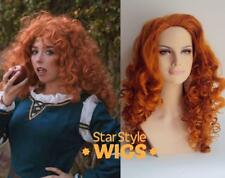 DELUXE ADULT MERIDA BRAVE LONG ORANGE GINGER CURLY DISNEY PRINCESS COSTUME WIG