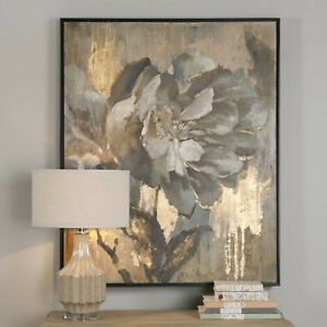 "DAZZLING 41"" VIBRANT PAINTED CANVAS FLOWER PAINTING WALL ART MODERN UTTERMOST"