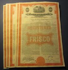 Wholesale Lot of 25 Old 1948 - ST. LOUIS SAN FRANCISCO Railway BOND Certificates