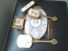 Vintage Petit Point Embroidered Brass Vanity/Dressing Table Set & Clock