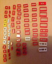 Vintage Lego windows  - 75 pieces - houses, buildings, city, town, red