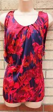 H&M SILKY FEEL FLORAL PINK PURPLE SUMMER TUNIC CAMI BLOUSE T SHIRT TOP L XL