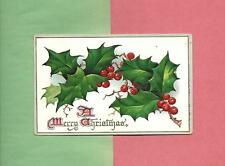 Lovely HOLLY SPRIGS On TUCK Beautifully Embossed Vintage CHRISTMAS Postcard