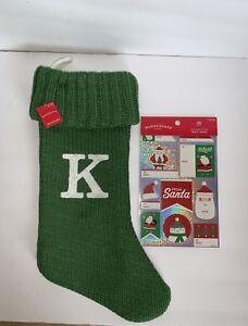 "Letter Initial Monogram K 19"" Green Holiday Knit Stocking Target Bonus Gift Tags"