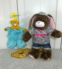 "💜 Build A Bear Brown Bunny Rabbit Plush 17"" Tall w/ Hoodie, Shorts & Jumper 💜"