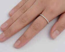 Silver Thin Band Ring with Clear CZ Sterling Silver 925 Best Deal Jewelry Size 9