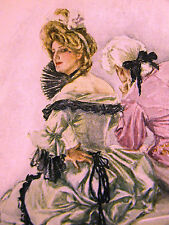 Harrison Fisher Girl w FAN PLAYING COY w LOVER 1907 Antique Art Print Matted