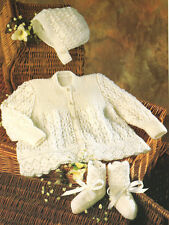"Fancy Lace Baby Coat Bonnet Bootees 14"" - 20"" ~  4 Ply Knitting Pattern"