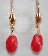 VINTAGE 14K GF 9CT UNDYED  RED BLOOD CORAL SWIRL  DROP LEVER BACK EARRINGS
