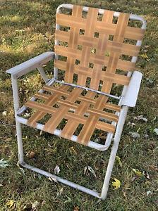 Vintage Aluminum Folding Lawn Patio Outdoor Chair  Web Strap Tan