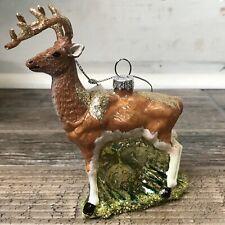 "Joyland Deer Glitter Blown Glass Christmas Ornament New 2019 5"" Tall"