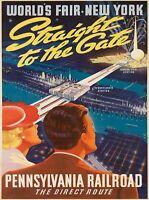 1939 New York City World's Fair Rail United States Travel Ad Art Poster Print