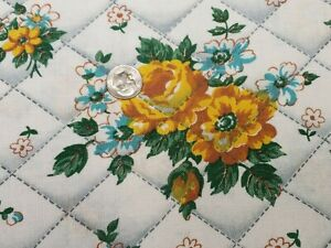 BEST Vintage Feedsack Quilt Fabric 40s Yellow Roses WWII Era Flour Full Sack