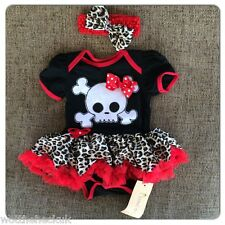 Baby Girls Pirate Skull Halloween Fancy Dress Party Tutu Romper Headband Outfit