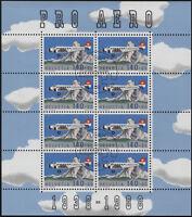 Svizzera - 1988 - Pro Aero - Unificato nn.A49 - Minifoglio di 8 - annullo FDC
