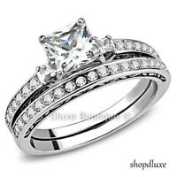 2.05 Ct Princess Cut AAA CZ Stainless Steel Wedding Ring Set Women's Size 5-10