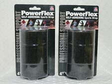 "Power Flex Self Adhering Sport Wrap - Professional Support 4"" Black - Lot of 2"