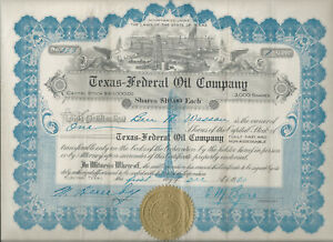 Electra Texas 1920 Texas Federal Oil stock certificate Gusher in blue ink