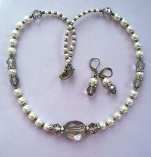 f5d062e0f BLACK DIAMOND crystal WHITE GLASS PEARL necklace SET BRONZE Handcrafted