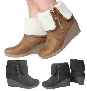 Womans Ankle High Wedge Heel Black Tan Boots Winter Warm Faux Fur Zip Up Collar
