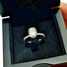 Ring in 14K White Gold Huge 2.81Ct Oval Diamond Solitaire Engagement