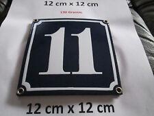 Hausnummer Nr. 11 weisse Zahl auf blauem Hintergrund 12 cm x 12 cm Emaille Neu