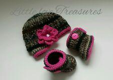 NEW Newborn Baby Girl Crochet Camo Hunting Hat and Booties Crochet Photo Prop