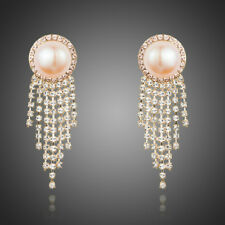 NEW ELEGANT PINK PEARL DROP EARRINGS WITH CLAW CHAIN TASSEL JEWELRY