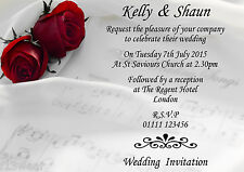 YELLOW ROSES RINGS WEDDING PARTY INVITATIONS Personalised A6 envelopes thanks