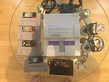 Super Nintendo SNES System Console With 2 Controllers and 5 most wanted Games