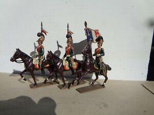 CBG Mignot, Napoleonic French Light Lancers & flag bearer cavalry lead 54mm, jj