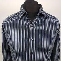 GAP Mens Shirt 2XL Long Sleeve Blue Regular Fit Striped Cotton