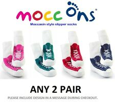 Mocc Ons Moccasin Style SLIPPER Socks 18 - 24 Months