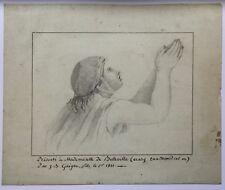 Dibujo antiguo con subtítulos Miss un Belleville Época Napoleón 1801 revolución