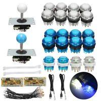 LED Push Button+2pcs Joystick+USB Encoder Zero Delay Arcade Game DIY Kit Parts