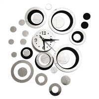 Mirror effect Wall sticker with clock/mirror clock stickers /Decorated room w SS