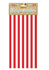 12 Red Stripe Paper Bags - Party Treat Candy Sweet Loot Lunch Gift
