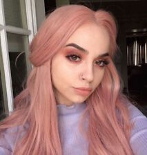 """24"""" Pink Wigs Synthetic Hair Lace Front Wig Best Long Wavy Wigs for White Women"""