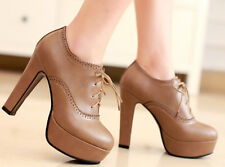 UK Womens Ankle Boot Platform High Heels Pumps Lace Up Round Toe Shoes Mary Jane