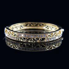 18k Gold plated with Swarovski crystals filigree solid bracelet bangle