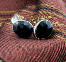 Wholesale Price, 925 Sterling Silver Black Onyx Quartz Gemstone Stud Earrings
