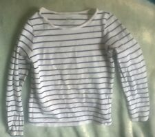 H&M navy blue and white striped girls top long sleeve jersey 4-6years 110/116