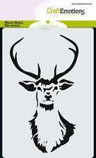 Flex-Schablone Mask stencil Kopf Ren-tier Hirsch Xmas CraftEmotions 185070/0101